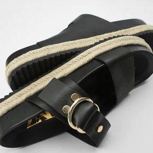 NWT Zara Black Flat Leather Sandals, 9